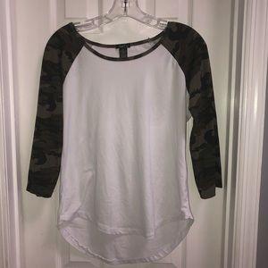White and Camo Long Sleeve Shirt